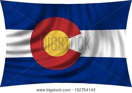 Flag of the US state of Colorado. American patriotic element. USA banner. United States of America symbol. Colorado official flag waving isolated on white 3d illustration