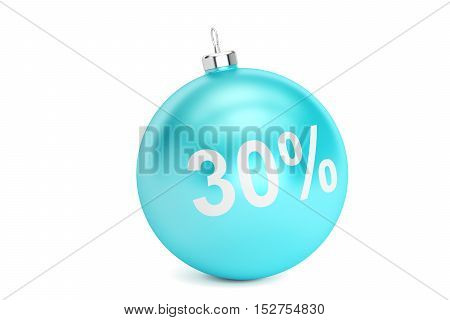 Christmas Sale 30% concept 3D rendering isolated on white background