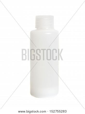 White plastic medical container with cap isolated on white