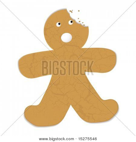 Gingerbread man with a bite out of his head and startled expression