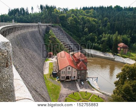 Water dam and hydropower plant on the river Bobr, Pilchowickie lake, Poland