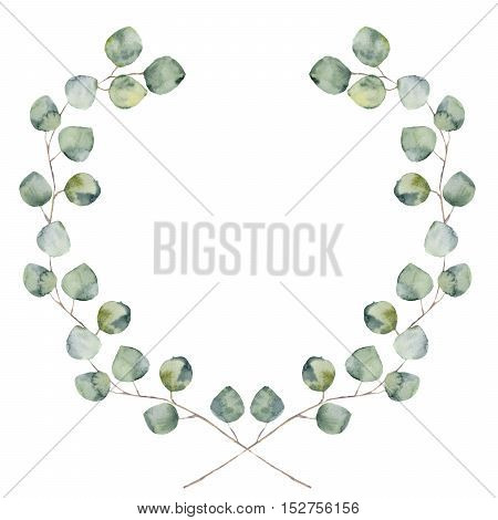 Watercolor floral border with baby and silver dollar eucalyptus leaves. Hand painted floral wreath with branches, leaves of eucalyptus isolated on white background. For design or background.