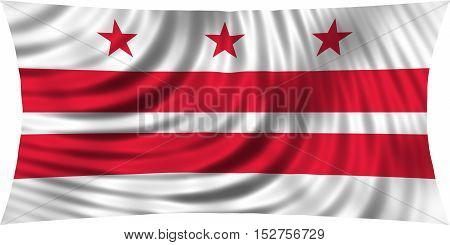 Flag of the District of Columbia. American patriotic element. USA banner. United States of America symbol. Washington D.C. official flag waving isolated on white 3d illustration