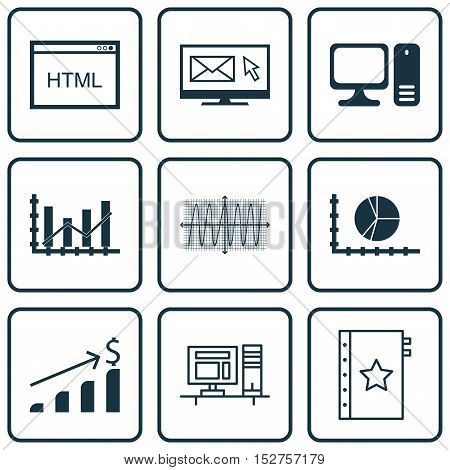 Set Of 9 Universal Editable Icons For Project Management, Advertising And Statistics Topics. Include
