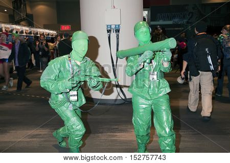NEW YORK NEW YORK - OCTOBER 9: People dressed as plastic toy soldiers at NY Comic Con at Jacob K. Javits convention center. Taken October 9 2016 in New York.