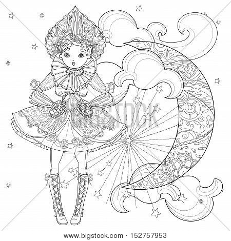Vector cute fairy gothic lolita girl in nice dress. Vector line illustration. Sketch for postcard or print or coloring adult book. Boho style half moon.