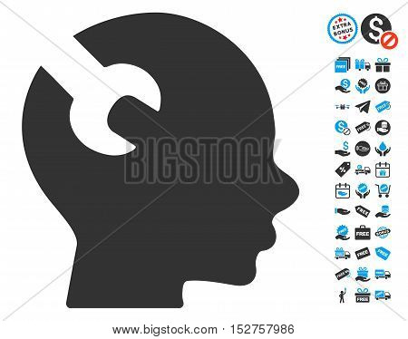 Brain Wrench Tool pictograph with free bonus graphic icons. Vector illustration style is flat iconic symbols, blue and gray colors, white background.