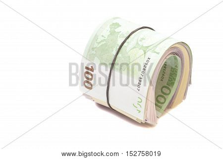 Euro banknotes under rubber band isolated on white