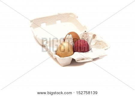 Carton Box With Colorful Eggs isolated on white