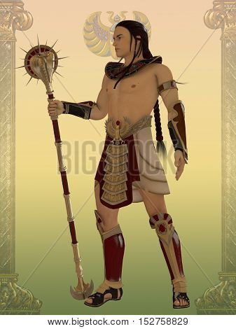 Egyptian Guard 3D Illustration - An Egyptian guard for the temples and palaces of the Old Kingdom of Egypt with cobra staff.