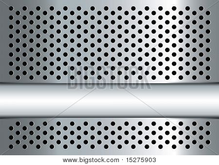 Silver metal background with perforated holes and copy space