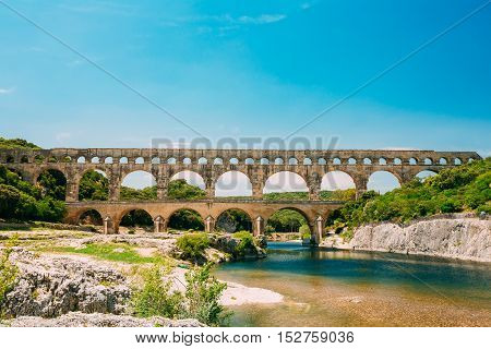 Famous Landmark Ancient Old Double Arches Of The Roman Aqueduct Of Pont Du Gard, Nimes, France