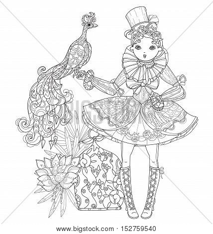 Vector cute fairy gothic lolita girl in nice dress with peacock .Vector line illustration.Sketch for postcard or print or coloring adult book.Boho style.