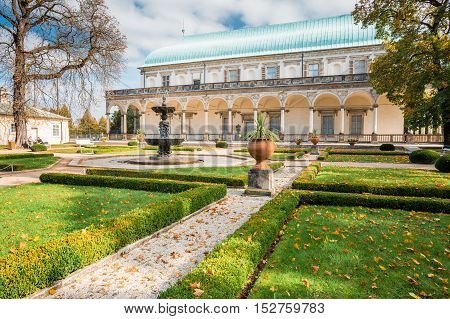 Queen Anne's Summer Palace in Prague, Czech Republic. Built in 1538-1565. Beautiful Renaissance building in the Royal Gardens of the Prague Castle.
