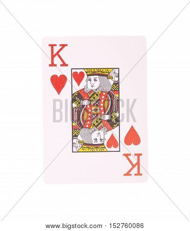 King of Hearts playing card on white