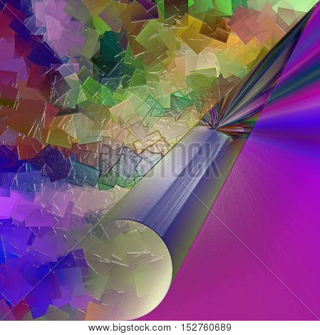 Abstract coloring background of the purples gradient with visual pagecurl, lighting,cubism and plastic wrap effects, good for your project design