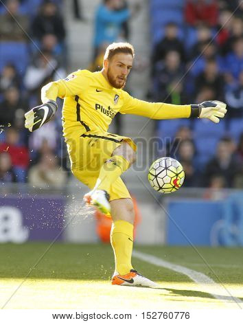 BARCELONA, SPAIN - APRIL,9: Jan Oblak of Atletico Madrid during a Spanish League match against RCD Espanyol at the Power8 stadium on April 9, 2016 in Barcelona, Spain