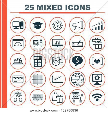 Set Of 25 Universal Editable Icons For Project Management, Computer Hardware And Education Topics. I