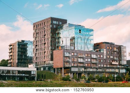 Vilnius, Lithuania. The Contemporary Multilevel Apartment Complex In Scandinavian Architectural Style
