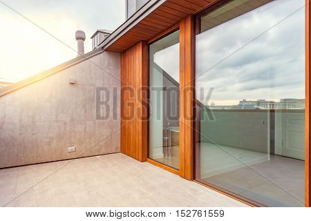 Moscow, Russian Federation, September 15, 2016: Balcony of the luxury prestige apartments at morning time.