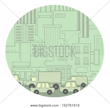 Stylized Icon of a busy street with traffic congestion. Eps10