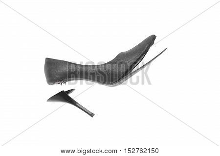 worn out high heel shoe isolated on white background