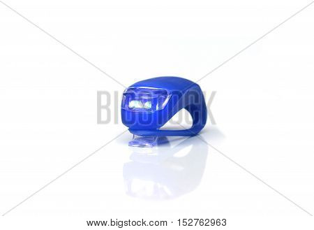 Bicycle rear red light reflector in blue color