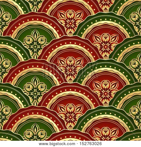 Vintage seamless pattern with shiny red and green and gold circles vector