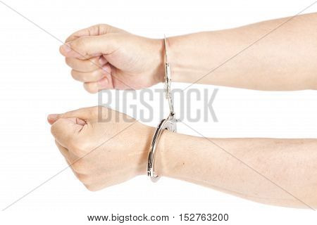 Man hands with handcuffs isolated on white background