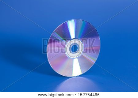 Compact disk CD on a blue background poster