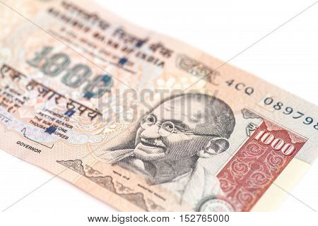 One thousand rupee note (Indian Currency) isolated on a white background