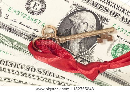 Key to success on one dollar banknotes isolated