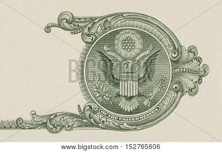 Eagle on U.S. dollar bill closeup macro 1 usd banknote