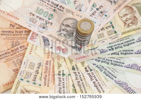 Indian Currency Rupee Notes and Coins Money Background