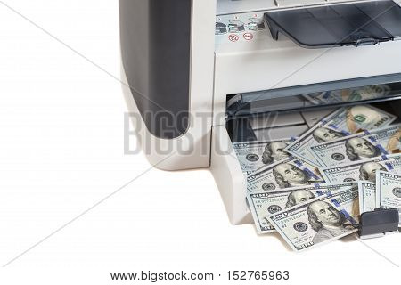 Printer printing  dollar bills isolated on white background
