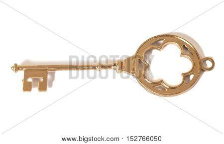 Golden Old Key isolated on white background
