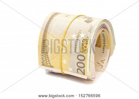 Twenty hundred euro banknotes under rubber band