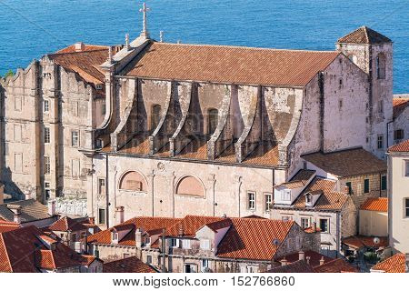 View from the city walls of the St Ignatius church in Dubrovnik, Croatia.