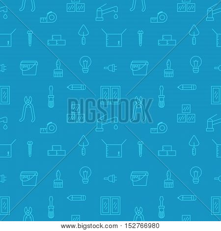 Home repair and construction outline blue vector seamless pattern. Clean and simple design.