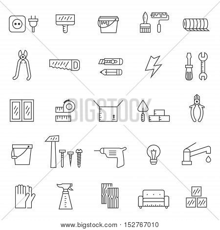 Home repair and construction outline gray vector icons set. Clean and simple design.