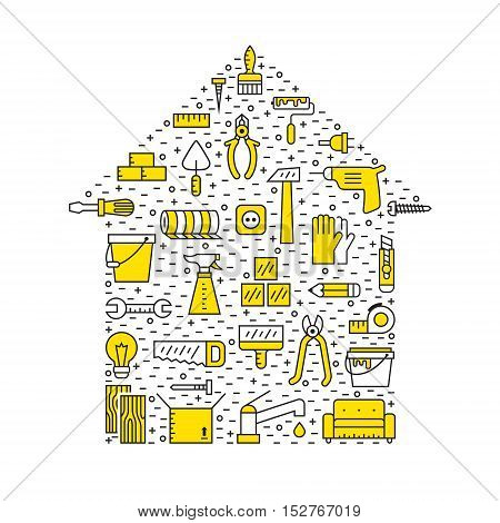 Home repair and construction outline black and yellow vector illustration. Modern minimal design. House shape poster.