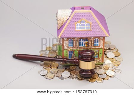 Home coins and gavel isolated on gray.Real estate concept