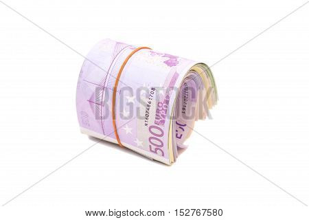 Five hundredth banknotes under rubber band isolated
