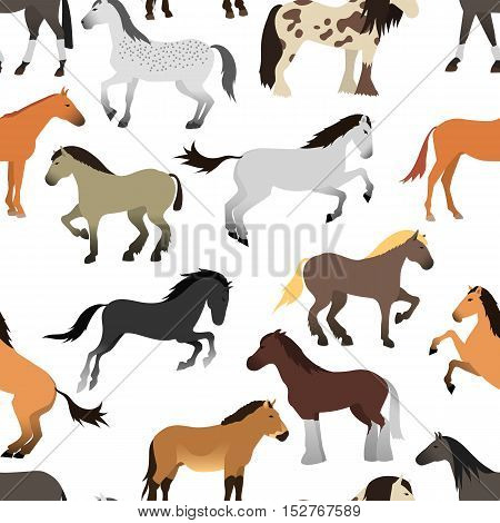 Ccartoon horse on white background seamless pattern. Cartoon horse vector illustration. Cute cartoon horse farm animals happy mane stallion character design.