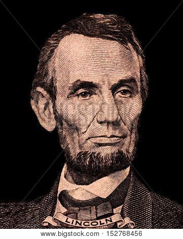 Portrait of first U.S. president Abraham Lincoln