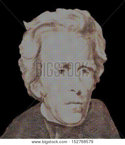 Portrait of U.S. president Andrew Jackson on black