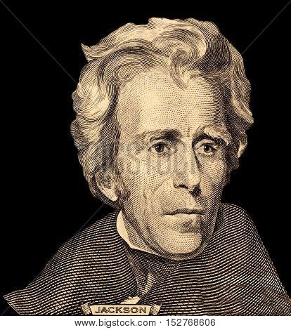 Portrait of U.S. great president Andrew Jackson