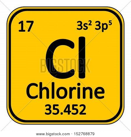 Periodic table element chlorine icon on white background. Vector illustration.