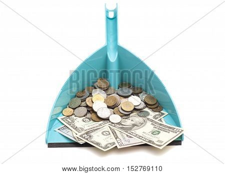 dollars banknote with coins in blue dustpan isolated on white