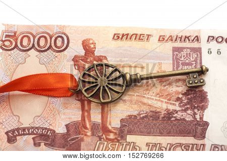 Key To Success With Red Bow on 5000 Russian ruble banknote